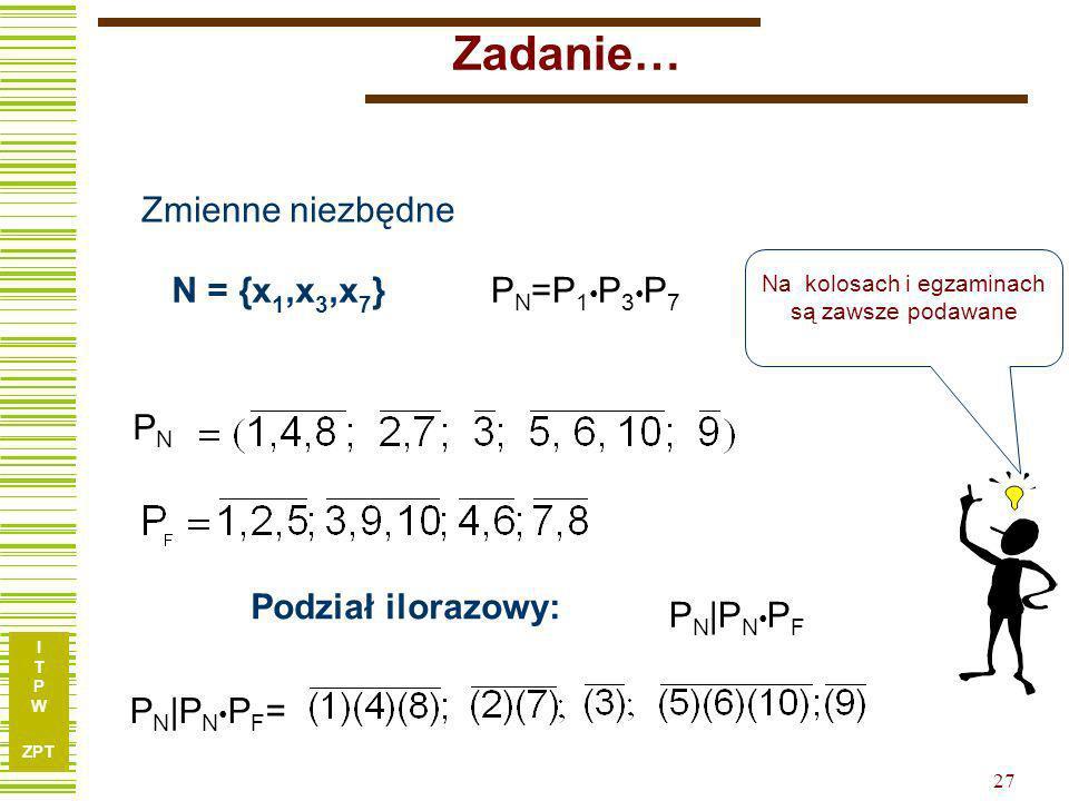 I T P W ZPT 26 Zadanie nieco trudniejsze… X1X1 X2X2 X3X3 X4X4 X5X5 X6X6 X7X7 X8X8 X9X9 y1y1 y2y2 100010011001 201100001001 311101100010 401000110100 5
