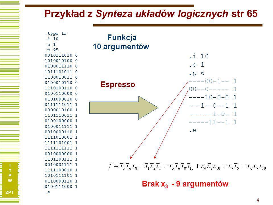 I T P W ZPT 4 Przykład z Synteza układów logicznych str 65 Funkcja 10 argumentów Brak x 3.type fr.i 10.o 1.p 25 0010111010 0 1010010100 0 0100011110 0 1011101011 0 1100010011 0 0100010110 0 1110100110 0 0100110000 0 0101000010 0 0111111011 1 0000010100 1 1101110011 1 0100100000 1 0100011111 1 0010000110 1 1111010001 1 1111101001 1 1111111111 1 0010000000 1 1101100111 1 0010001111 1 1111100010 1 1010111101 1 0110000110 1 0100111000 1.e.i 10.o 1.p 6 ----00-1-- 1 00--0----- 1 ----10-0-0 1 ---1--0--1 1 ------1-0- 1 -----11--1 1.e Espresso - 9 argumentów