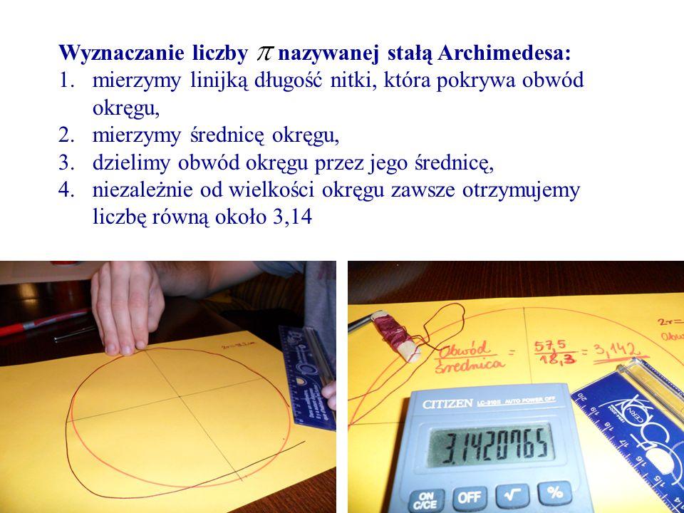 Wyznaczanie liczby nazywanej stałą Archimedesa: 1.mierzymy linijką długość nitki, która pokrywa obwód okręgu, 2.mierzymy średnicę okręgu, 3.dzielimy o