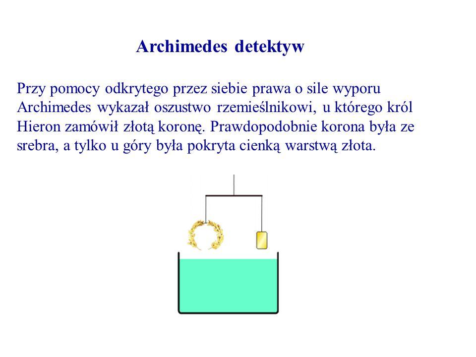 Przy pomocy odkrytego przez siebie prawa o sile wyporu Archimedes wykazał oszustwo rzemieślnikowi, u którego król Hieron zamówił złotą koronę. Prawdop