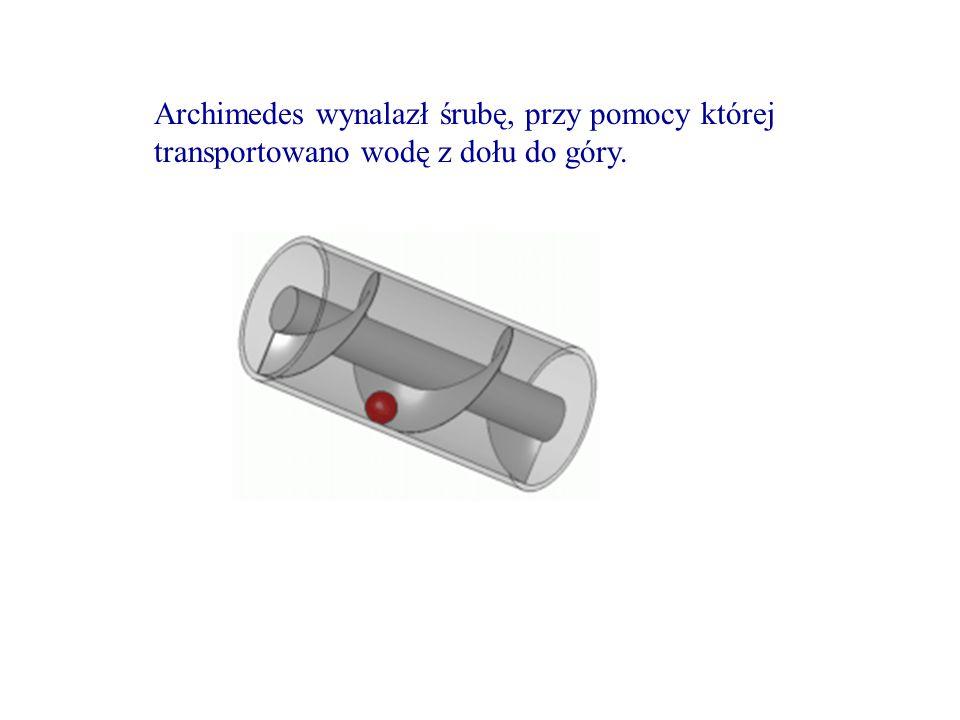 Archimedes wynalazł śrubę, przy pomocy której transportowano wodę z dołu do góry.