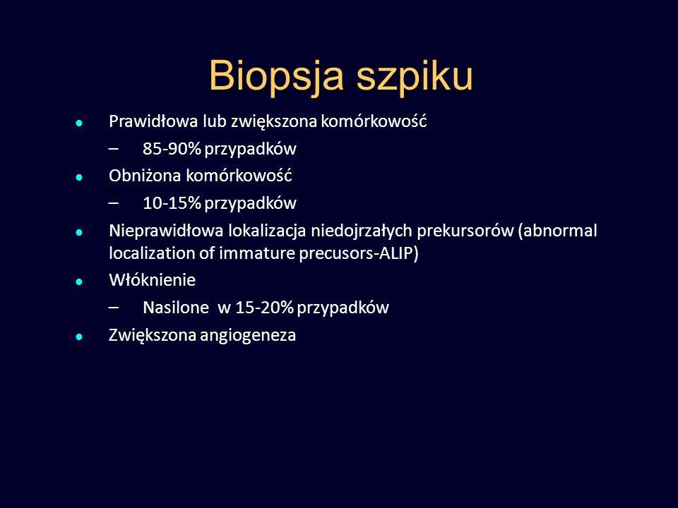 Biopsja szpiku Prawidłowa lub zwiększona komórkowość –85-90% przypadków Obniżona komórkowość –10-15% przypadków Nieprawidłowa lokalizacja niedojrzałyc