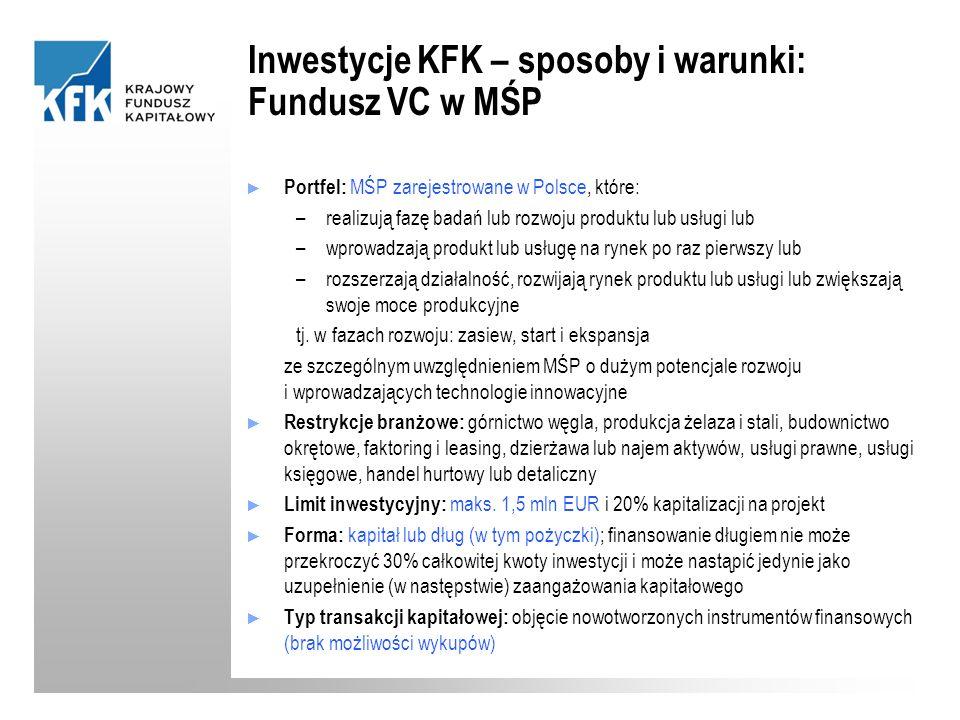 Portfel: MŚP zarejestrowane w Polsce, które: –realizują fazę badań lub rozwoju produktu lub usługi lub –wprowadzają produkt lub usługę na rynek po raz