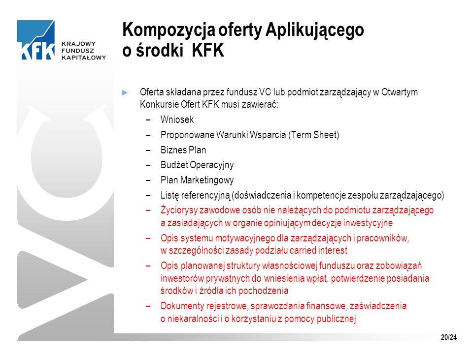 Oferta składana przez fundusz VC lub podmiot zarządzający w Otwartym Konkursie Ofert KFK musi zawierać: –Wniosek –Proponowane Warunki Wsparcia (Term S