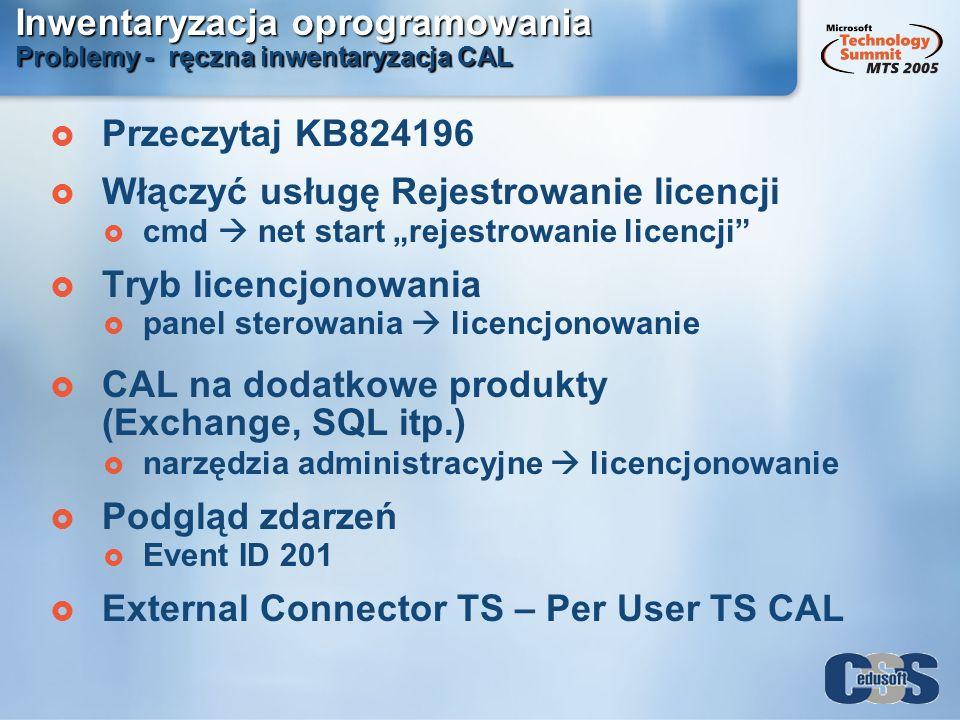 Inwentaryzacja oprogramowania Problemy - ręczna inwentaryzacja CAL Przeczytaj KB824196 Włączyć usługę Rejestrowanie licencji cmd net start rejestrowan