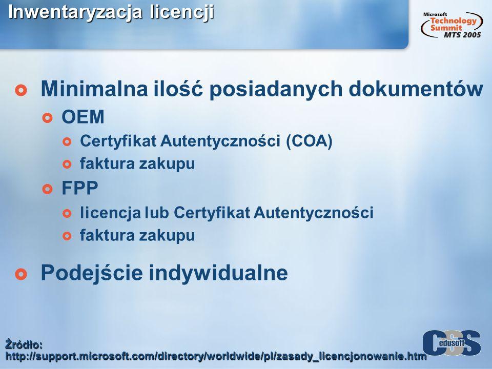 Inwentaryzacja licencji Minimalna ilość posiadanych dokumentów OEM Certyfikat Autentyczności (COA) faktura zakupu FPP licencja lub Certyfikat Autentyc