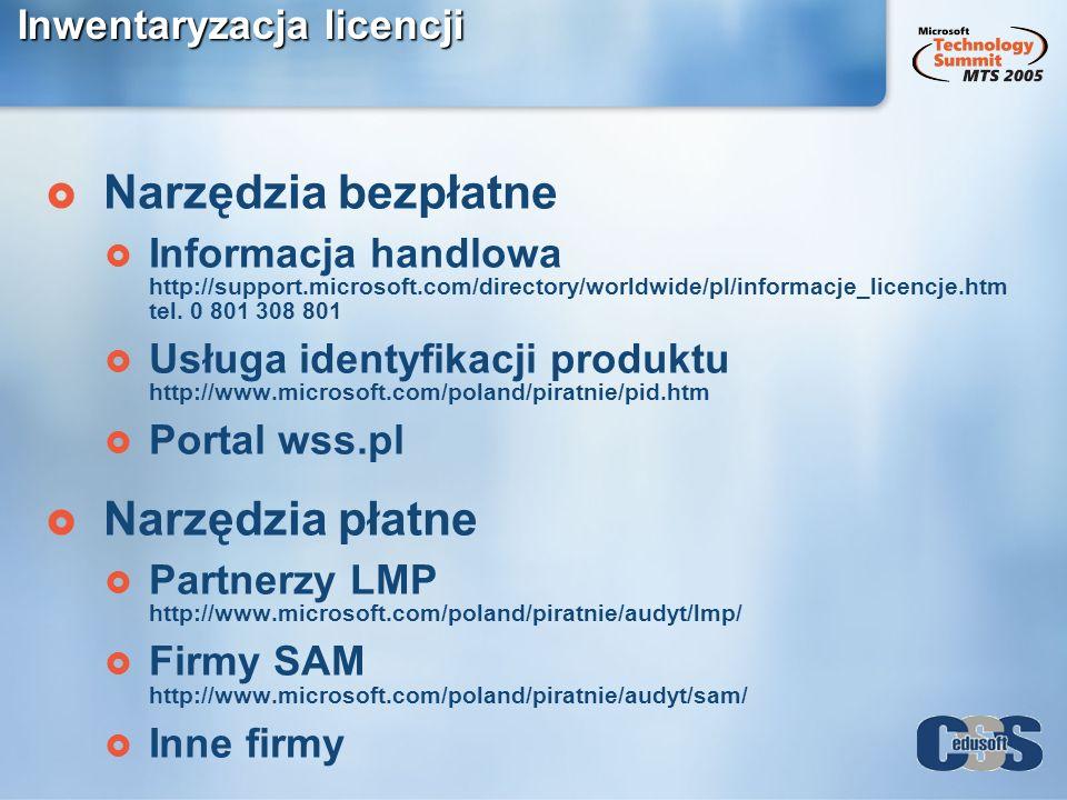 Inwentaryzacja licencji Narzędzia bezpłatne Informacja handlowa http://support.microsoft.com/directory/worldwide/pl/informacje_licencje.htm tel. 0 801