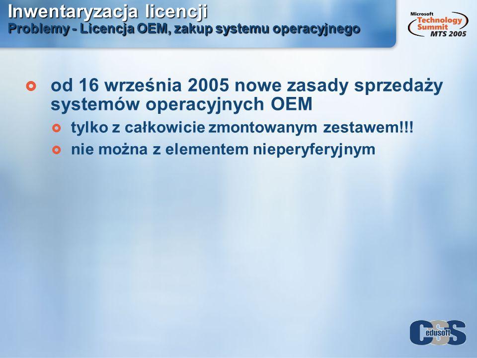 Inwentaryzacja licencji Problemy - Licencja OEM, zakup systemu operacyjnego od 16 września 2005 nowe zasady sprzedaży systemów operacyjnych OEM tylko