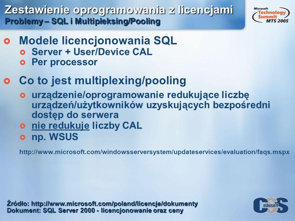 Zestawienie oprogramowania z licencjami Problemy – SQL i Multipleksing/Pooling Modele licencjonowania SQL Server + User/Device CAL Per processor Co to