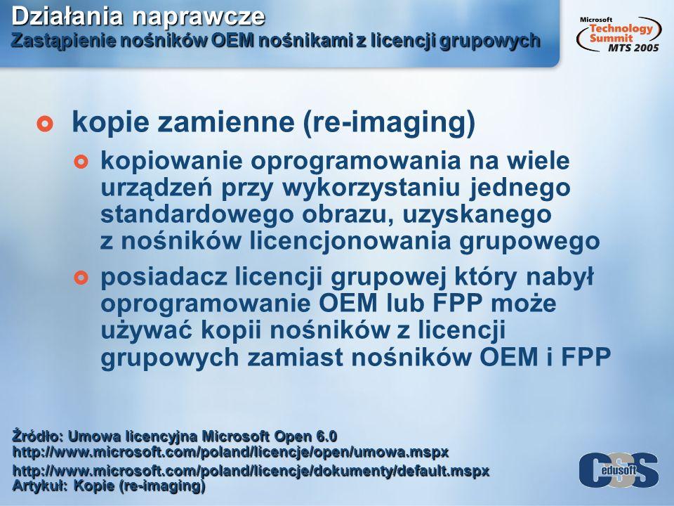 Działania naprawcze Zastąpienie nośników OEM nośnikami z licencji grupowych kopie zamienne (re-imaging) kopiowanie oprogramowania na wiele urządzeń pr