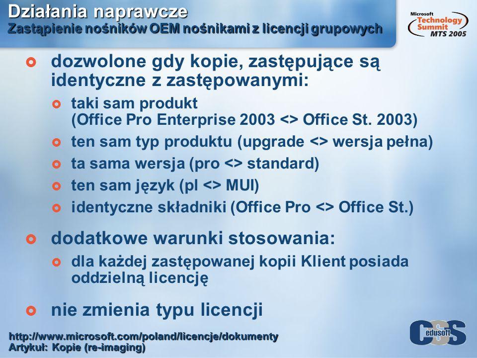 Działania naprawcze Zastąpienie nośników OEM nośnikami z licencji grupowych dozwolone gdy kopie, zastępujące są identyczne z zastępowanymi: taki sam p