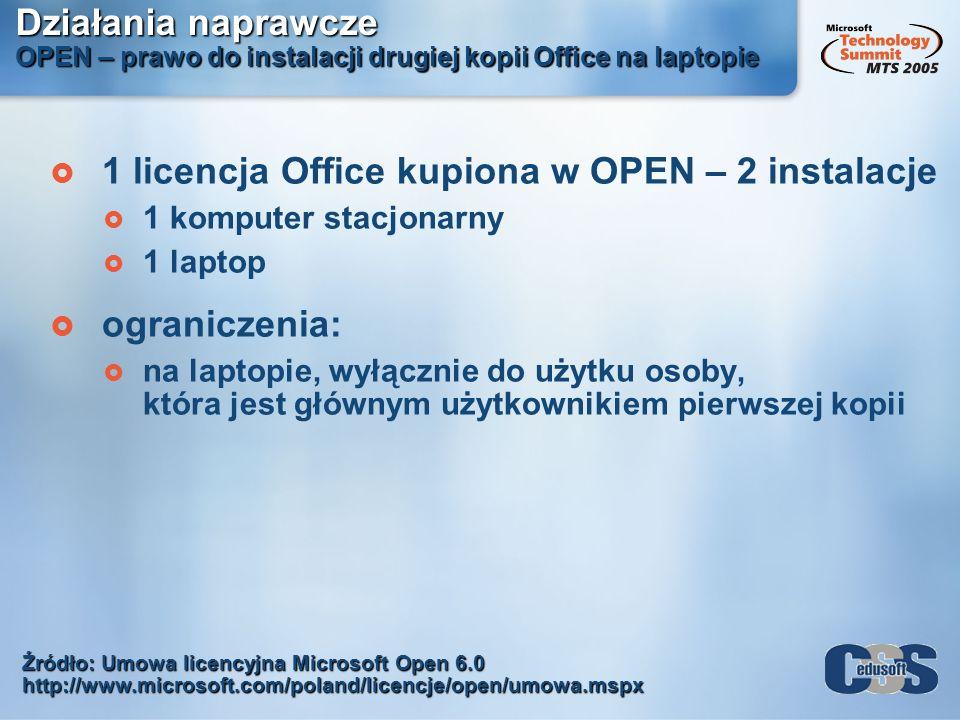 Działania naprawcze OPEN – prawo do instalacji drugiej kopii Office na laptopie 1 licencja Office kupiona w OPEN – 2 instalacje 1 komputer stacjonarny