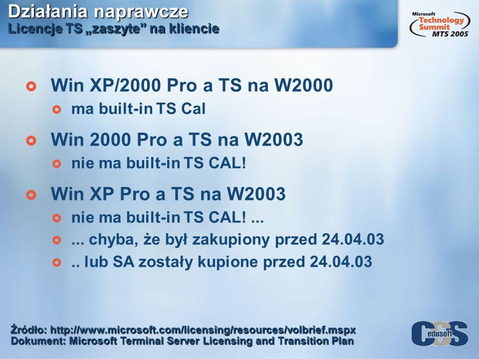 Działania naprawcze Licencje TS zaszyte na kliencie Źródło: http://www.microsoft.com/licensing/resources/volbrief.mspx Dokument: Microsoft Terminal Se