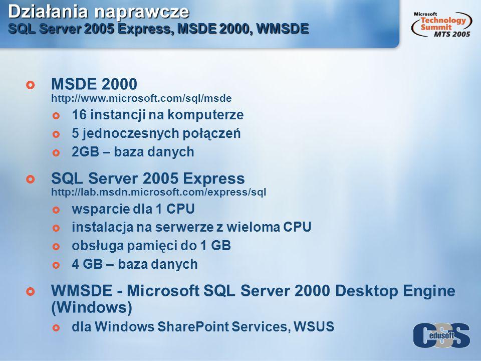 Działania naprawcze SQL Server 2005 Express, MSDE 2000, WMSDE MSDE 2000 http://www.microsoft.com/sql/msde 16 instancji na komputerze 5 jednoczesnych p