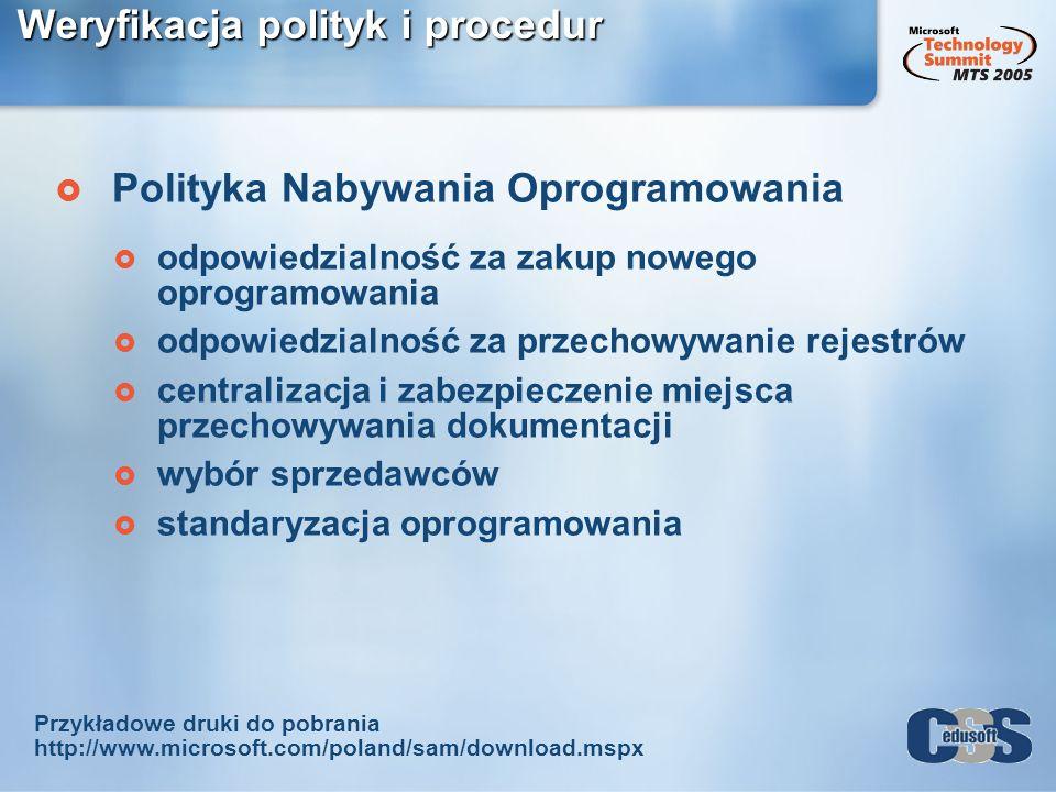 Weryfikacja polityk i procedur Polityka Nabywania Oprogramowania odpowiedzialność za zakup nowego oprogramowania odpowiedzialność za przechowywanie re