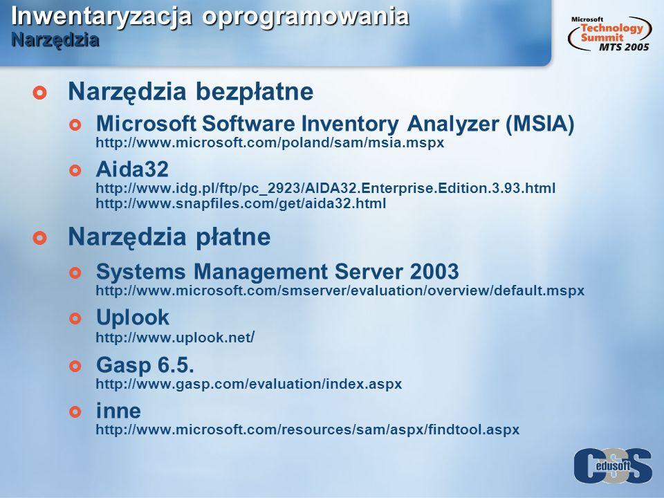 Inwentaryzacja oprogramowania Narzędzia Narzędzia bezpłatne Microsoft Software Inventory Analyzer (MSIA) http://www.microsoft.com/poland/sam/msia.mspx