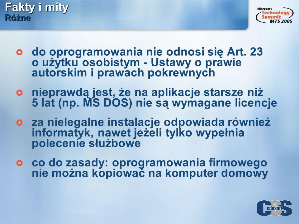 Fakty i mity Różne do oprogramowania nie odnosi się Art. 23 o użytku osobistym - Ustawy o prawie autorskim i prawach pokrewnych nieprawdą jest, że na