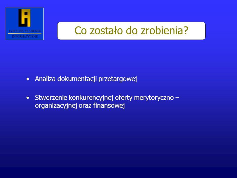 Co zostało do zrobienia? Analiza dokumentacji przetargowej Stworzenie konkurencyjnej oferty merytoryczno – organizacyjnej oraz finansowej