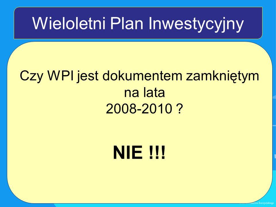 Wieloletni Plan Inwestycyjny Czy WPI jest dokumentem zamkniętym na lata 2008-2010 NIE !!!