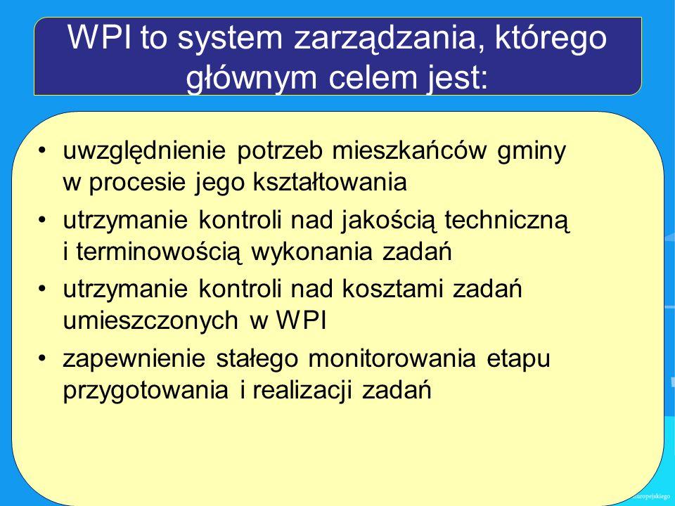 WPI to system zarządzania, którego głównym celem jest: uwzględnienie potrzeb mieszkańców gminy w procesie jego kształtowania utrzymanie kontroli nad jakością techniczną i terminowością wykonania zadań utrzymanie kontroli nad kosztami zadań umieszczonych w WPI zapewnienie stałego monitorowania etapu przygotowania i realizacji zadań