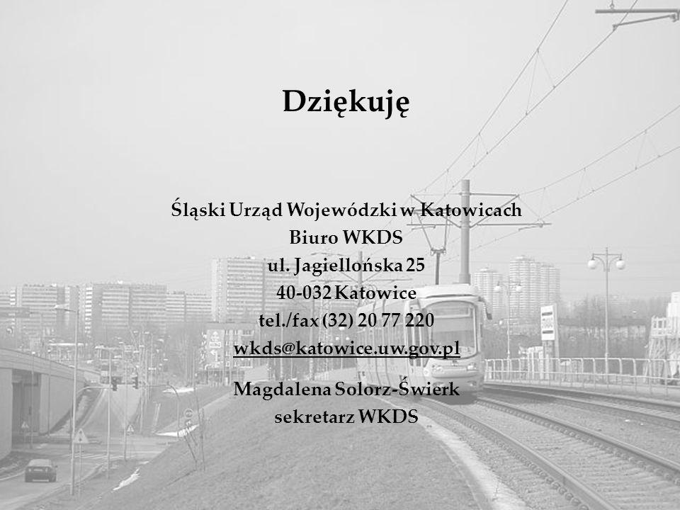 6 Local public transport Dziękuję Śląski Urząd Wojewódzki w Katowicach Biuro WKDS ul. Jagiellońska 25 40-032 Katowice tel./fax (32) 20 77 220 wkds@kat