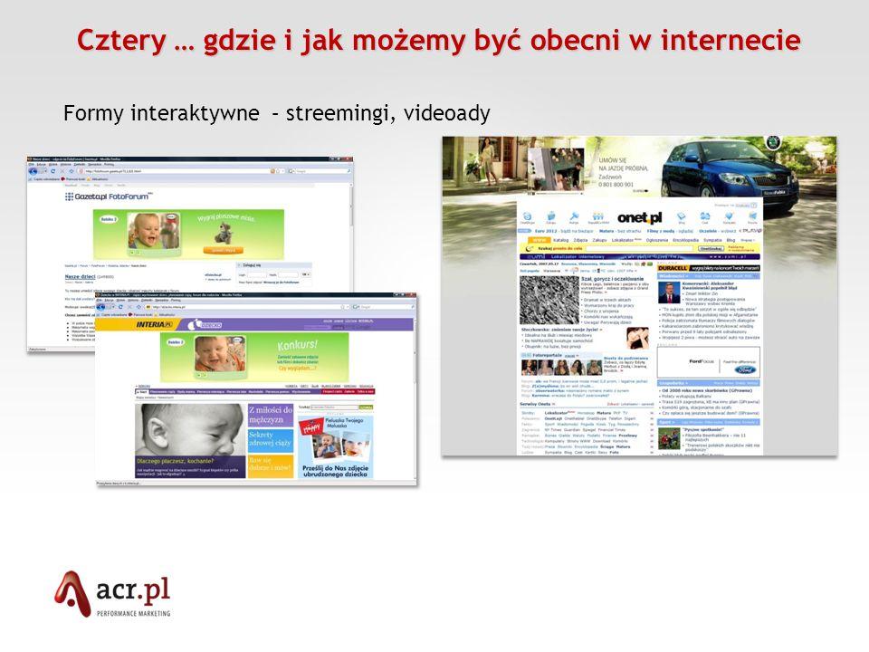 Cztery … gdzie i jak możemy być obecni w internecie Cztery … gdzie i jak możemy być obecni w internecie Formy interaktywne – streemingi, videoady