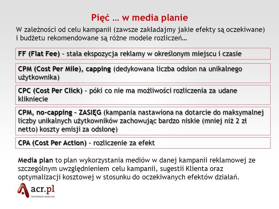 Pięć … w media planie CPM (Cost Per Mile), capping (dedykowana liczba odsłon na unikalnego użytkownika) CPC (Cost Per Click) – póki co nie ma możliwoś