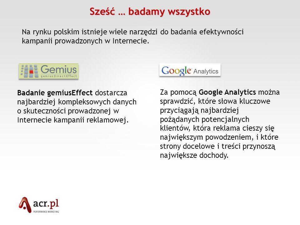 Sześć … badamy wszystko Badanie gemiusEffect dostarcza najbardziej kompleksowych danych o skuteczności prowadzonej w Internecie kampanii reklamowej. N