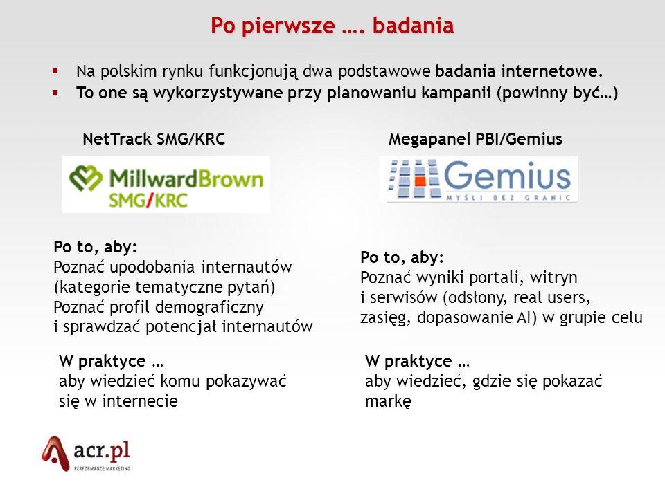 Po pierwsze …. badania Na polskim rynku funkcjonują dwa podstawowe badania internetowe. To one są wykorzystywane przy planowaniu kampanii (powinny być