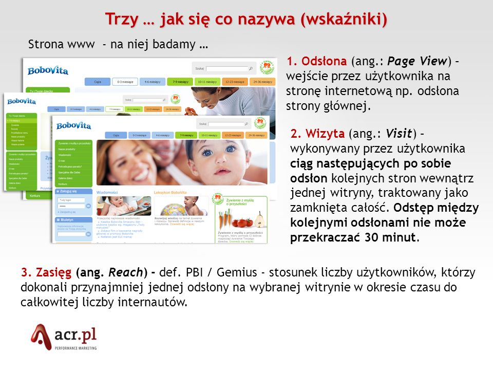 Trzy … jak się co nazywa (wskaźniki) Strona www - na niej badamy … 1. Odsłona (ang.: Page View) – wejście przez użytkownika na stronę internetową np.