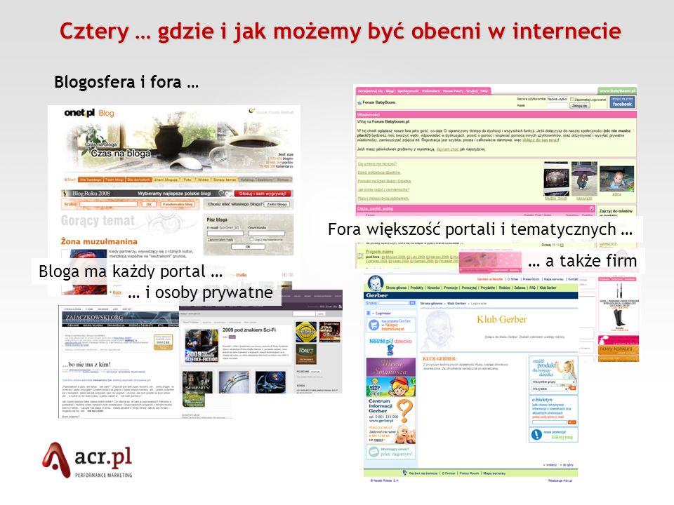 Cztery … gdzie i jak możemy być obecni w internecie Cztery … gdzie i jak możemy być obecni w internecie Blogosfera i fora … Bloga ma każdy portal … Fo