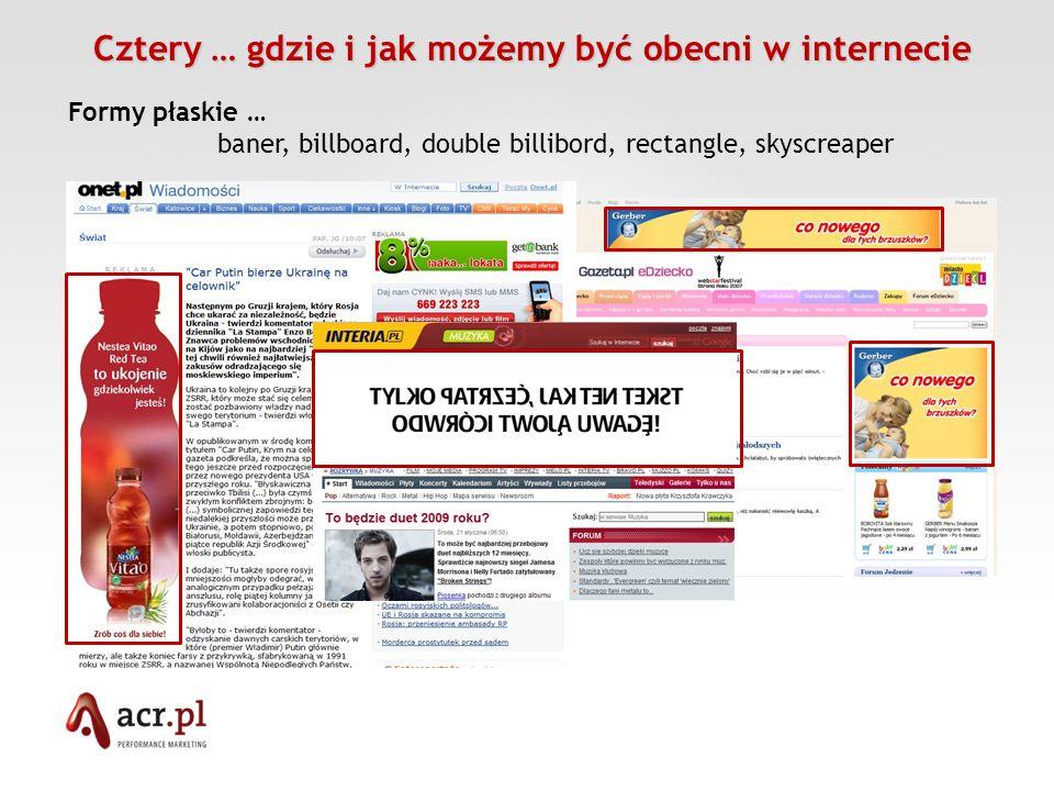 Cztery … gdzie i jak możemy być obecni w internecie Cztery … gdzie i jak możemy być obecni w internecie Formy płaskie … baner, billboard, double billi