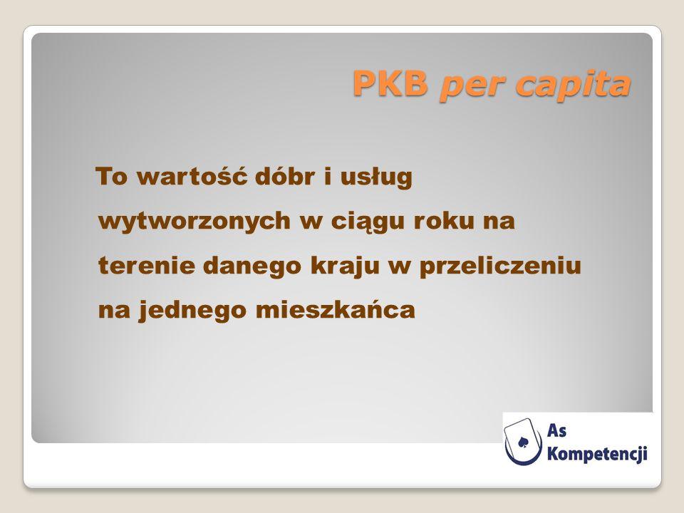 PKB per capita To wartość dóbr i usług wytworzonych w ciągu roku na terenie danego kraju w przeliczeniu na jednego mieszkańca