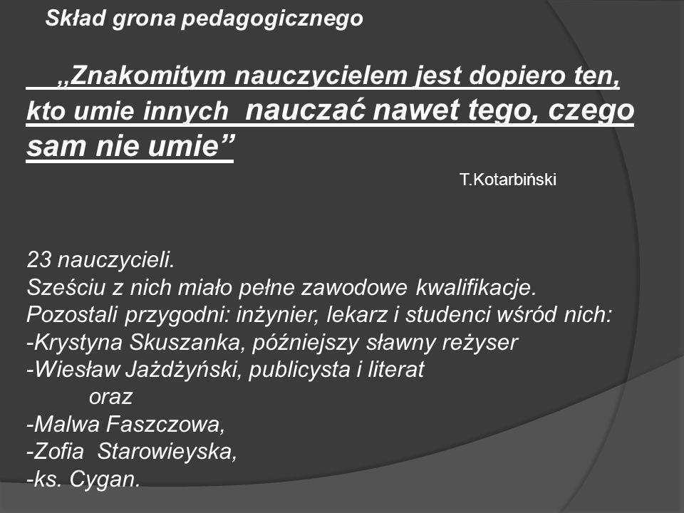 Skład grona pedagogicznego,, Znakomitym nauczycielem jest dopiero ten, kto umie innych nauczać nawet tego, czego sam nie umie T.Kotarbiński 23 nauczyc