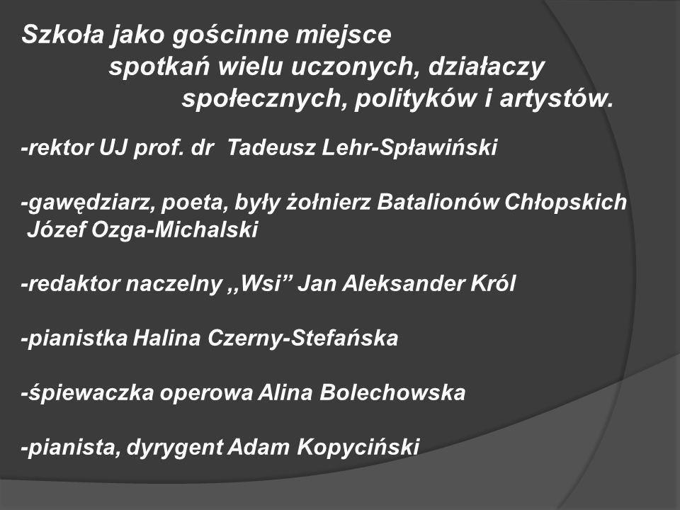 Szkoła jako gościnne miejsce spotkań wielu uczonych, działaczy społecznych, polityków i artystów. -rektor UJ prof. dr Tadeusz Lehr-Spławiński -gawędzi