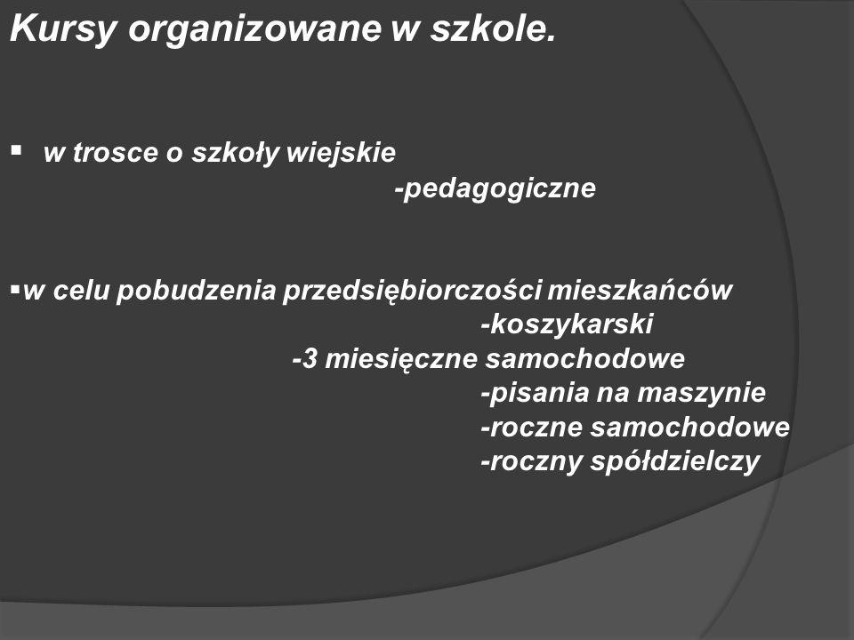 Kursy organizowane w szkole. w trosce o szkoły wiejskie -pedagogiczne w celu pobudzenia przedsiębiorczości mieszkańców -koszykarski -3 miesięczne samo