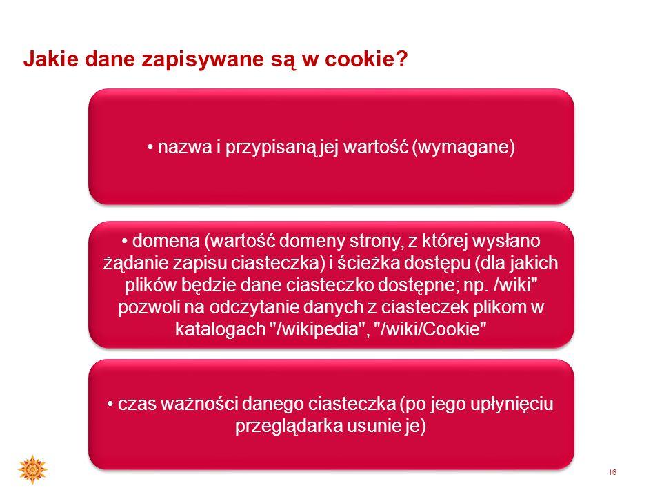 15 Czym jest cookie? Plik tesktowy wysyłany do komputera użytkownika, zapisywany na twardym dysku. Zapamiętane ciasteczko może najczęściej odczytać je
