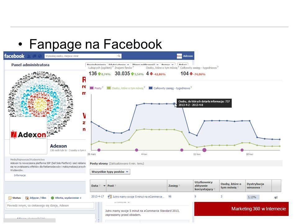 Marketing 360 w Internecie Fanpage na Facebook
