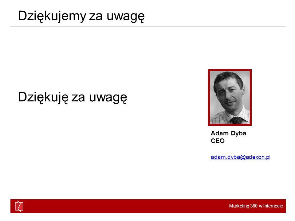 Marketing 360 w Internecie Dziękujemy za uwagę Dziękuję za uwagę Adam Dyba CEO adam.dyba@adexon.pl