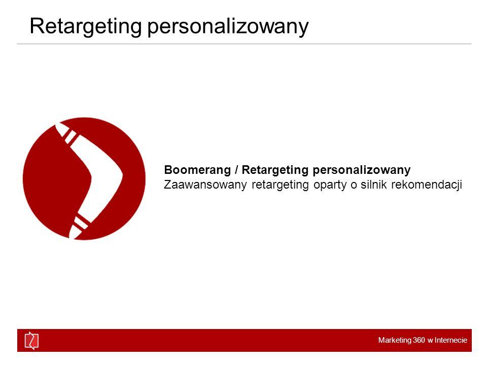 Marketing 360 w Internecie Retargeting personalizowany Boomerang / Retargeting personalizowany Zaawansowany retargeting oparty o silnik rekomendacji