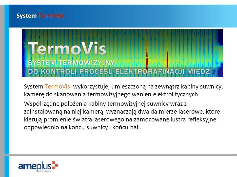 System TermoVis System TermoVis wykorzystuje, umieszczoną na zewnątrz kabiny suwnicy, kamerę do skanowania termowizyjnego wanien elektrolitycznych. Ws
