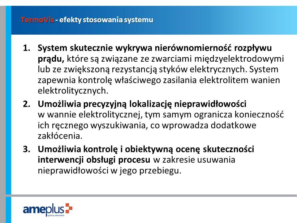 TermoVis - efekty stosowania systemu 1.System skutecznie wykrywa nierównomierność rozpływu prądu, które są związane ze zwarciami międzyelektrodowymi l