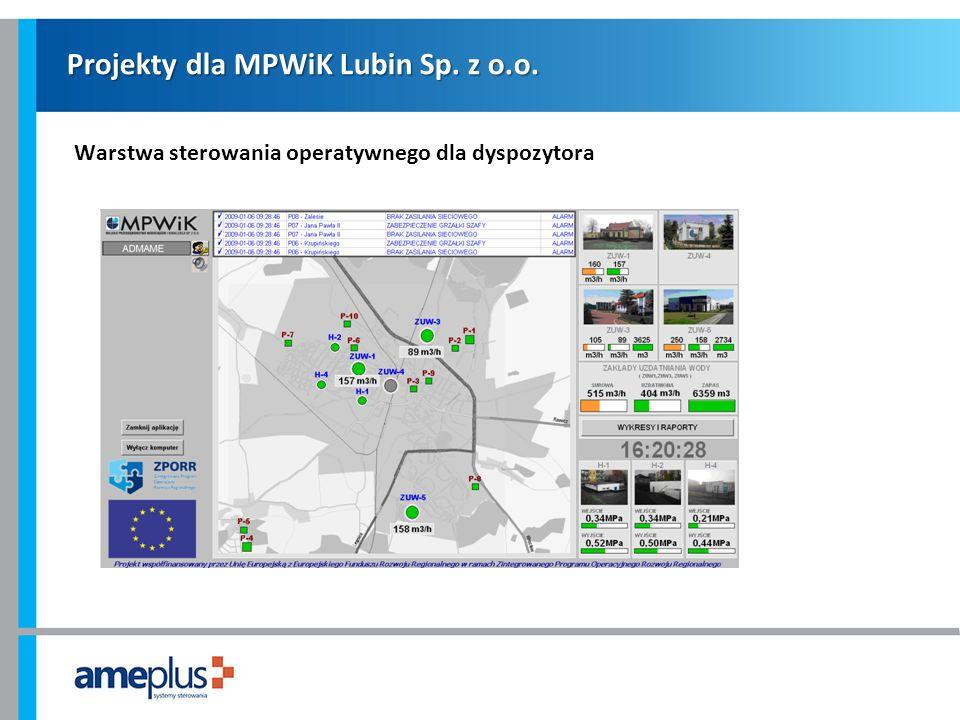 Projekty dla MPWiK Lubin Sp. z o.o. Warstwa sterowania operatywnego dla dyspozytora