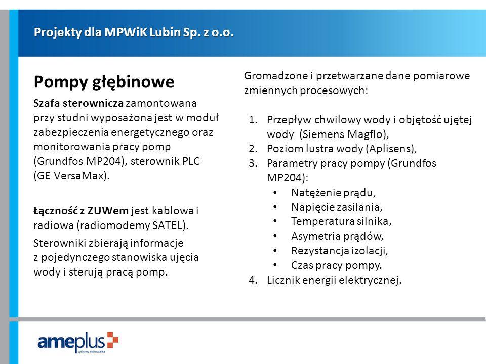 Projekty dla MPWiK Lubin Sp. z o.o. Pompy głębinowe Szafa sterownicza zamontowana przy studni wyposażona jest w moduł zabezpieczenia energetycznego or