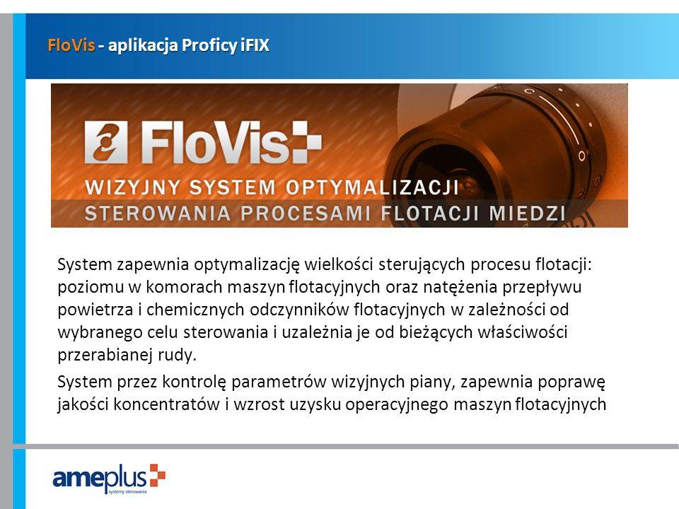 FloVis - aplikacja Proficy iFIX System zapewnia optymalizację wielkości sterujących procesu flotacji: poziomu w komorach maszyn flotacyjnych oraz natę