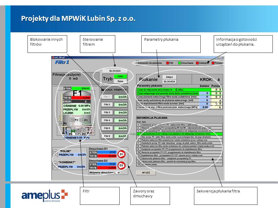 Projekty dla MPWiK Lubin Sp. z o.o. Informacja o gotowości urządzeń do płukania. Sterowanie filtrem Blokowanie innych filtrów Parametry płukania Filtr