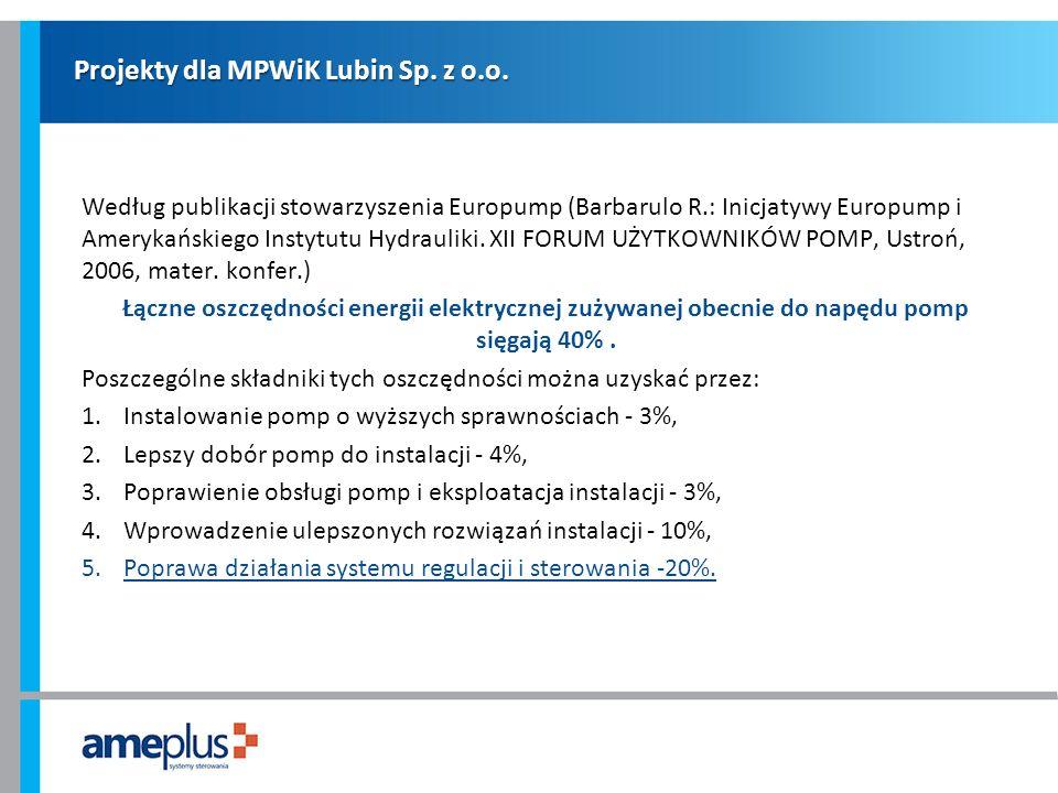 Projekty dla MPWiK Lubin Sp. z o.o. Według publikacji stowarzyszenia Europump (Barbarulo R.: Inicjatywy Europump i Amerykańskiego Instytutu Hydrauliki