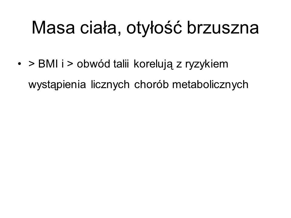 Masa ciała, otyłość brzuszna > BMI i > obwód talii korelują z ryzykiem wystąpienia licznych chorób metabolicznych
