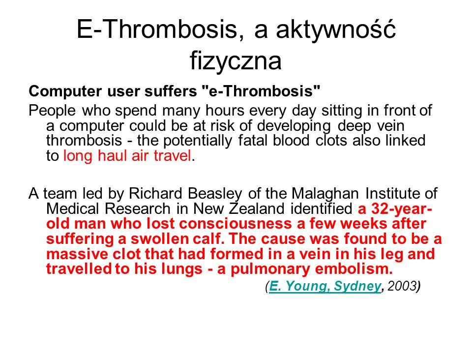 E-Thrombosis, a aktywność fizyczna Computer user suffers