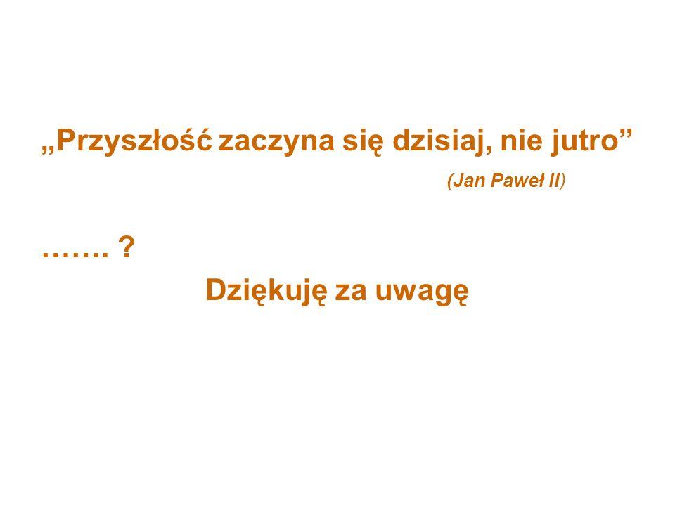 Przyszłość zaczyna się dzisiaj, nie jutro (Jan Paweł II) ……. ? Dziękuję za uwagę